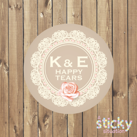 Personalised 'Happy Tears' Stickers - Lace Design